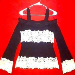 INC Petite Pointelle & Lace Cold-Shoulder Sweater